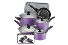 PURPLE 15PC NONSTICK COOKWARE SET Dishwash Safe Glass Lids PFOA PTFECadmium FREE