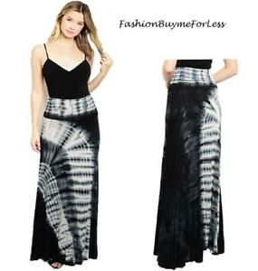 Gypsy BOHO Hippie Black Tie Dye Wide Flared Jersey Knit Maxi Long Skirt S M L XL