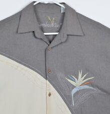 Bamboo Cay Men's Sz Medium Modal Blend Floral Embroidered Gray Hawaiian Shirt