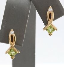 0.81 Carat Natural Green Peridot and Diamond 14K Solid Yellow Gold Stud Earrings