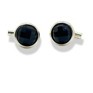 White Gold Finish round cut Black Onyx Cuff links gift boxed free postage