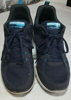Skechers Mens Air-Cooled Memory Foam Athletic Shoes Size 8.5 Wide Navy USED