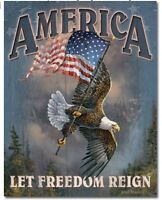 America let freedom reign Metal tin sign Patriotic eagle home Wall decor new
