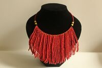Handmade original African Red Seed bead Choker Necklace