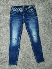 Silver Elyse Womens 29 x 29 Mid Skinny Denimotion Distressed Stretch Denim Jeans