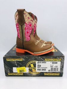 Verthali Toddler Girls Pink / Shed Embroidered Leather Cowboy Boots- US 8.5