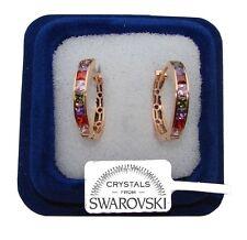 Orecchini da donna pl oro 18K zirconi cristalli swarovski veri SW4/4 multicolore