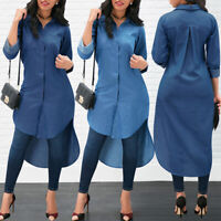 ❤️ Women Long Sleeve Button Denim Shirt Dress Casual Loose Long Tops Blouse S-XL