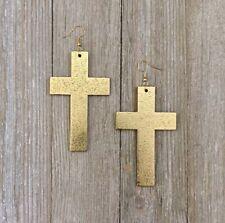 Gold Color Painted Cross Shape Wood Dangle Earrings