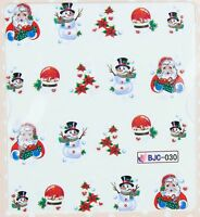 Christmas Glitter Santa Snowman Holly & Ivy Snow Water Transfer Sticker Decal