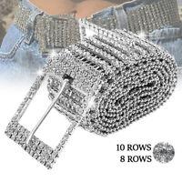 Femmes brillant ceinture taille chaîne cristal diamant large pleine strass BR