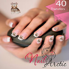 40 x Nail Art Water Transfers Stickers Wraps Decals Schnauzer