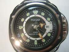 PULSAR TECH-GEAR MEN'S WATCH S/S IP BLACK ROU RUBBER PXH711 BY SEIKO NEW