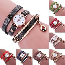 Women Fashion Watch Analog Charm Wrap Around Leather Quartz Bracelet Wrist Watch