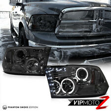 2009-2017 Dodge Ram 1500 2500 3500 Smoke Halo LED Projector Headlights Lamp PAIR
