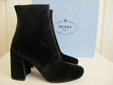 NIB $900 PRADA Velvet Ankle Leather Boots Bootie sz 38 8 Block Heels Side Zip