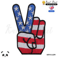USA Peace National Flag Embroidered Iron On Sew On Patch Badge For Clothes