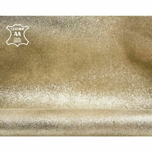 Light Gold Shimmer Leather Pieces // The Size of A Hide 5 - 6 sqft // Genuine Le
