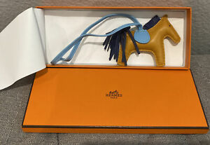 100% Authentic HERMES Rodeo PM Leather Bag Charm Gold/Rouge Indien A AM