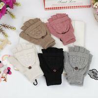 Ladies Women Cable Knit Soft Warm Winter Wool Blend Fingerless Gloves Mittens
