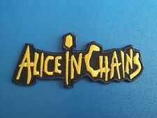 PUNK ROCK HEAVY METAL MUSIC SEW / IRON ON PATCH:- ALICE IN CHAINS YELLOW STRIPE