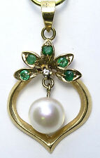 14k Yellow Gold Akoya Cultured Pearl and Genuine Emerald Pendant