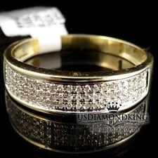 MEN'S NEW 10K 100% YELLOW GOLD GENUINE REAL DIAMOND WEDDING ENGAGEMENT RING BAND