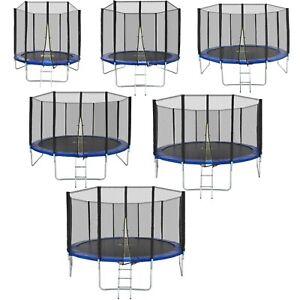Trampoline de jardin avec filet de sécurité et échelle set complet TÜV GS Bleu