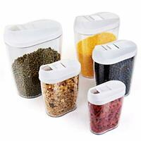 Locking Clear Acrylic Plastic Food Storage Jars Canister Set Ideal for Sugar,