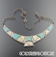 ARNOLD MALONEY NAVAJO STERLING SILVER MOTHER OF PEARL TURQUOISE HINGED NECKLACE