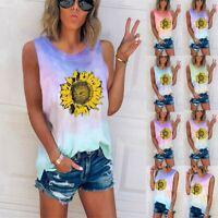 Womens Sunflower Tie-Dye Sleeveless Vest T-Shirt Summer Basic Tank Tops Blouse