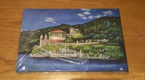 Villa Del Balbianello, Como - Canvas Print of Landscape Painting 30x20cm signed