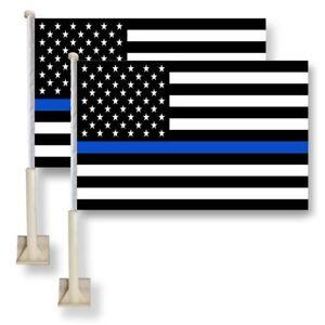"2 Pack Lot 12x18 USA Thin Blue Line Police Car Flag FLAGS WINDOW 18"" X 12"""