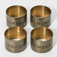 New listing Threshold Set of 4 Be Merry Napkin Rings Gold Holiday Christmas