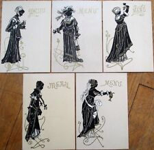Silhouette c. 1900 French Color Litho Menus - SET OF FIVE DIFFERENT