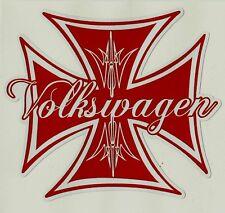 VW IRON CROSS Vinyl Decal Sticker VOLKSWAGEN KOMBI RAT FINK ROCKABILLY BEETLE