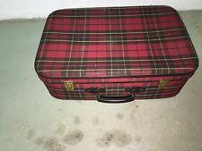 Ancienne valise de voyage tissu écossais vintage french antique suitcase clefs