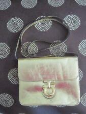 Furla mini Crossbody Handbag Genuine Leather Metallic Gold Purse Removable STRAP