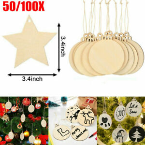 50/100X Wooden Christmas Craft Shape DIY Xmas Tree Decoration Hanging Baubles UK