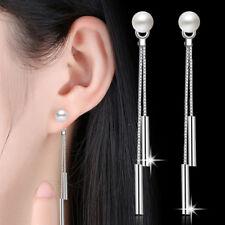Korean Women 925 Sterling Silver Drop Dangle Stud Earrings Wedding Party Gifts