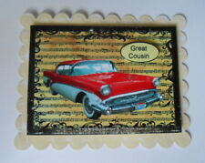 PACK 2 GREAT COUSIN RED CADILAC CAR TOPPER EMBELLISHMENTS  FOR CARDS AND CRAFTS