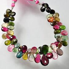 "Pink Green Yellow Tourmaline Pear Briolette Bead 8"""