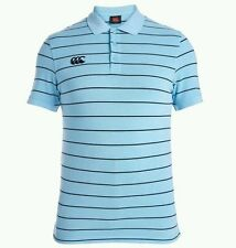 Men's canterbury rugby polo. Blue striped. Size:MEDIUM
