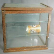 Antique Arts Crafts Dark Oak SMALL Counter Top Glass Display Case General Store