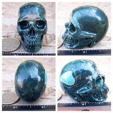 "1.91"" Ocean Jasper Skull Carved Stone 81.2g 2.9oz Crystal Healing Realistic"