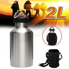 2L 2000ML Large Stainless Steel Wide Mouth Water Drink Bottle Cycling Sport +Bag