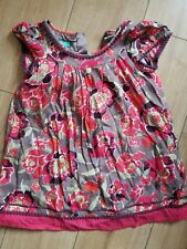 5-6 years girl monsoon mini dress brown  with red flower print