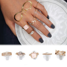 5pcs Gold Mid Above Knuckle Crystal Rhinestone Pearl Ring Band Tip Finger Rings