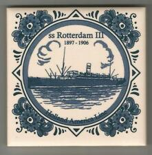 Holland America LIne  Blue Delft Tile...Vintage..ssRotterdam III ...1897 -1906