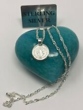 925 Sterling silver San Benito saint Benedict 20;Long Necklace